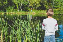 a boy fishing in a pond