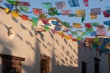 banners hanging between buildings