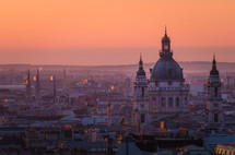 St Stephen's Basilica, Budapest, Hungary, catching the light from the rising sun as it towers over the surrounding rooftops