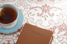 Bible Set Out with Tea for a Ladies Bible Study