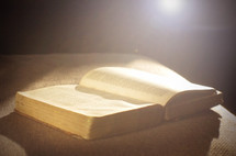 sunlight on the page of an old Bible