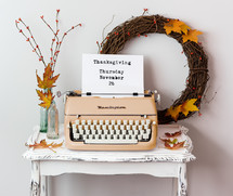 Thanksgiving November 26 on a typewriter