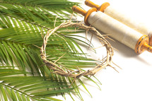 scroll and crown of thorns on palm fronds on a white background