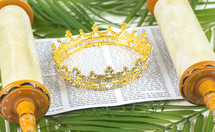 crown and scroll on palm fronds on a white background