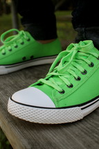 bright neon green sneakers