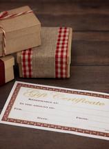 blank gift certificate