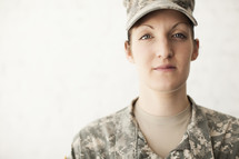 Female soldier in uniform.