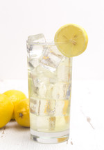 Fresh Squeezed Lemonade on a White Distressed Table