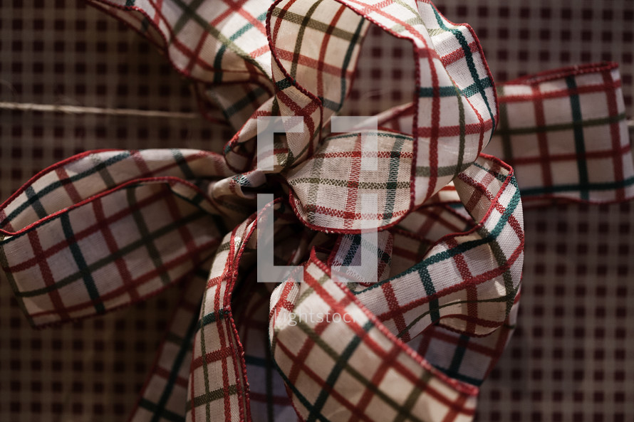 Red and green bow on gift