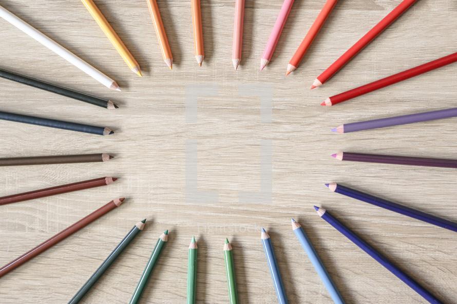 circular colored pencils border