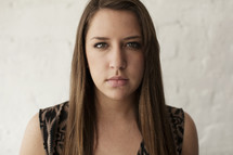 angry face of a young woman