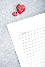 red hearts and dear letter