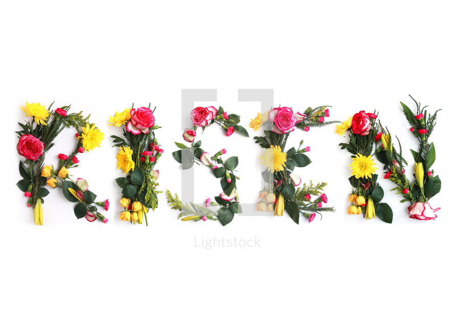 Easter Stock Photography.  RISEN illustrated using real flowers.