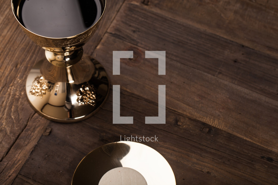 chalice and host at eucharist