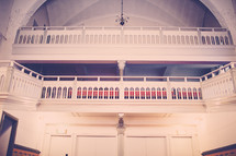 white balcony in a church