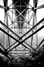 steel beams on a bridge