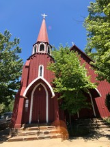 red church building