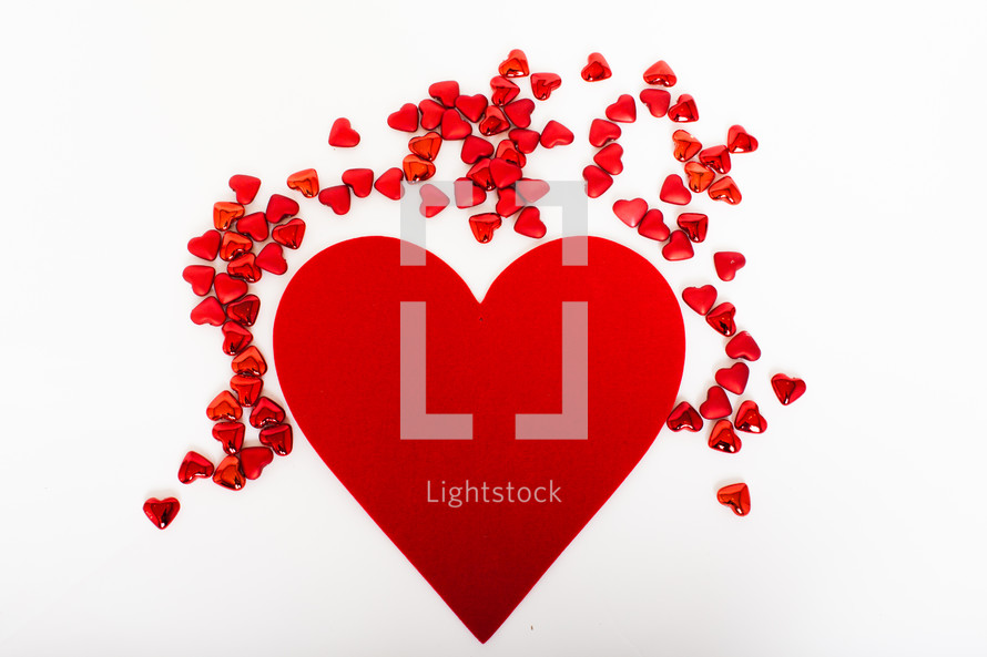red hearts on a white background