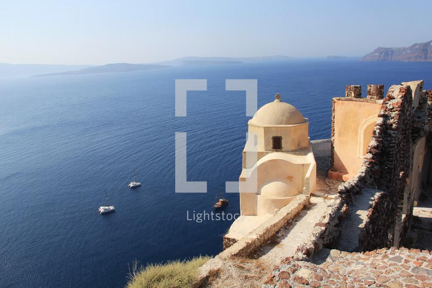 Historic  monument overlooking Mediterranean Ocean