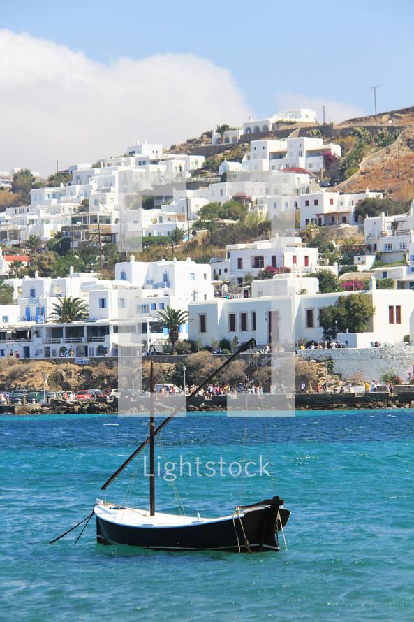 Fishing boat at harbor in Greece