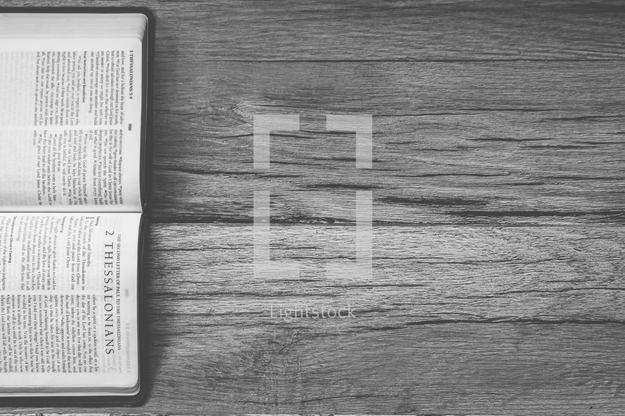 Sideways Bible opened to 2 Thessalonians
