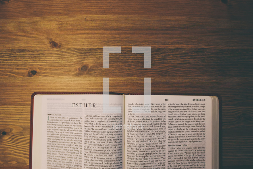 Bible on a wooden table open to the book of Esther.