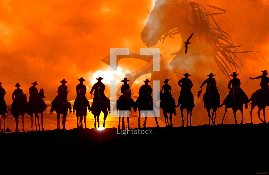 Roundup Time! A group of cowboys on horseback silhouetted against an Arizona Sunset riding off into the sunset rounding up horses showing the spirit of the wild west where horses and cowboys tamed the wild frontier. Copyright Rick Short, all rights reserved.