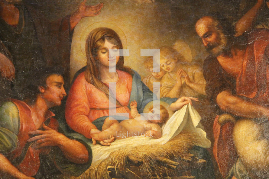Painting of the nativity scene.