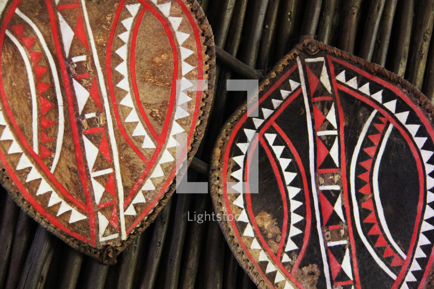 Traditional African war shields
