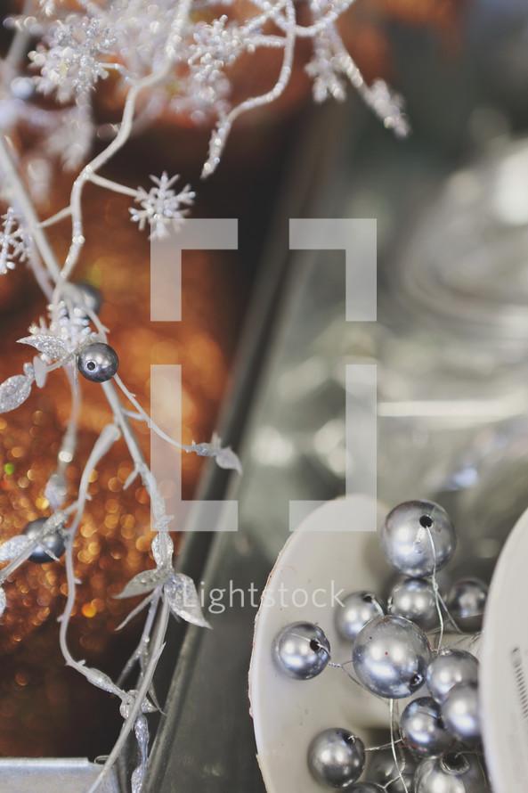 silver festive decorations