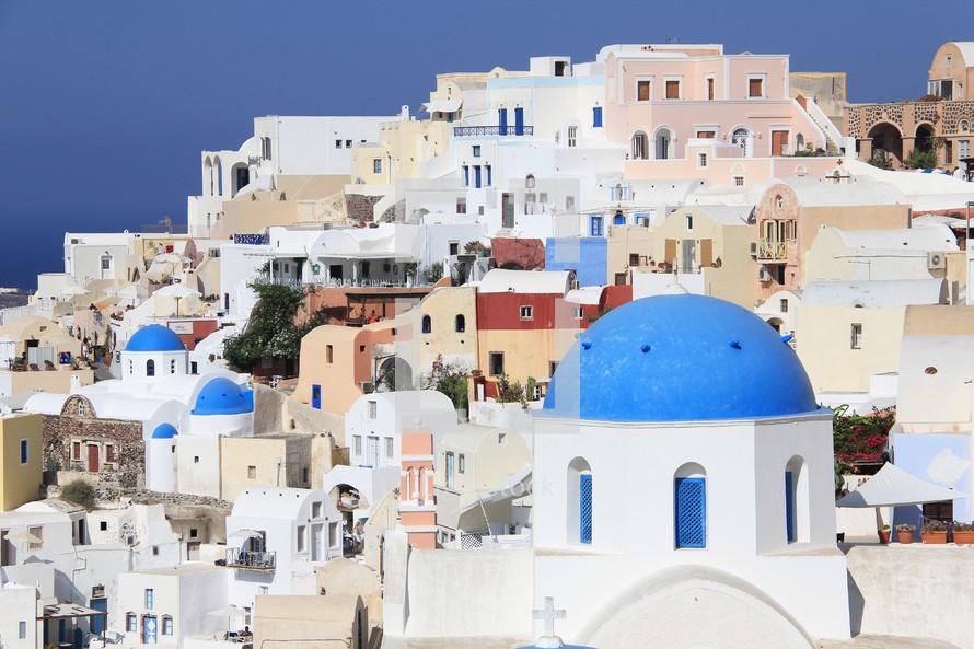 Greek village overlooking the Agean sea