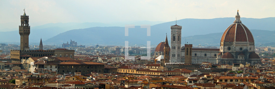 Duomo cathedral in Florence Italy and Florence skyline