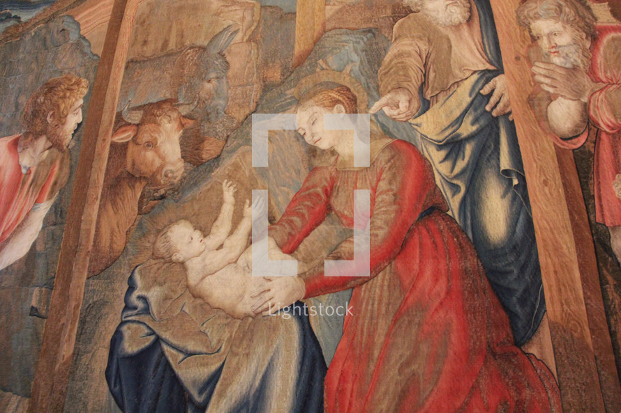 Painting of the nativity scene.