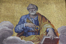 Mosaic depiction of Peter with the Keys of the Kingdom