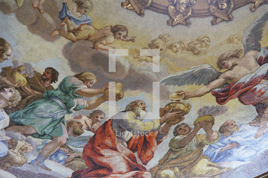 works of art on a cathedral ceiling