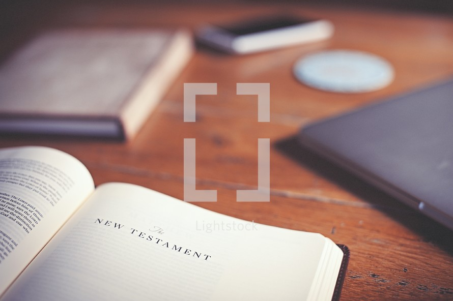 journal, Bible, The New Testament, laptop, cellphone, wood table, Bible study
