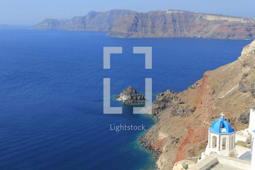 Coastline and church in Greece