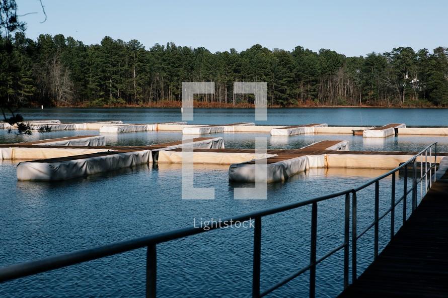 A boat dock in a marina.