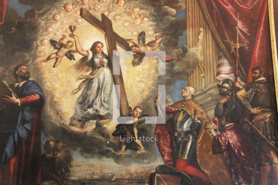 Painting of the empty cross glorified.