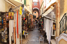 Greek market place selling religious icons and candles