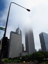 Chicago skyscrapers in the fog.