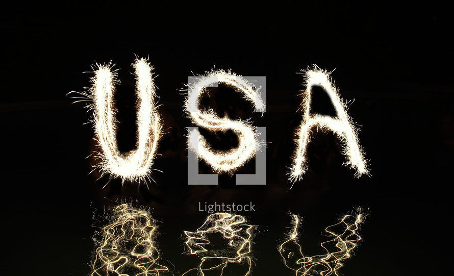 USA written with fireworks