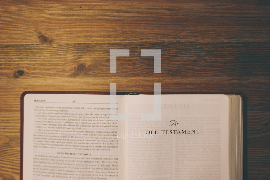 Bible on a wooden table open to the Old Testament.