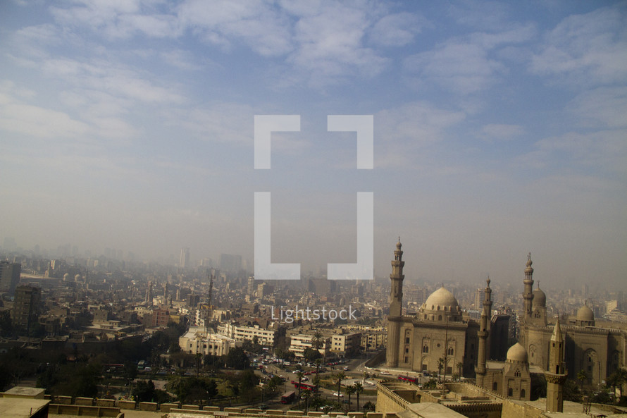 Skyline of Egyptian churches, mosques and buildings.
