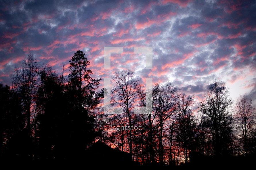 pink and purple clouds at sunset