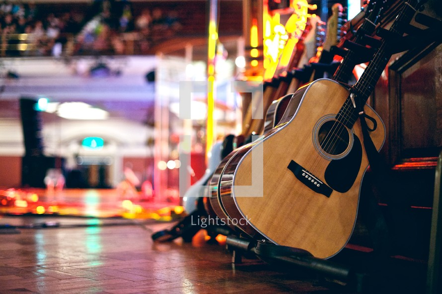acoustic guitars on stage