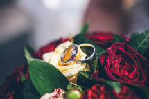 Wedding rings on a bouquet of flowers.