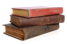 Stack of vintage books.
