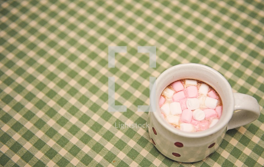 marshmallows in a mug of hot cocoa