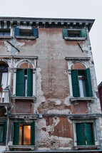exposed brick on a building in Venice